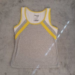 Danskin Now Gray Yellow White Active Tank